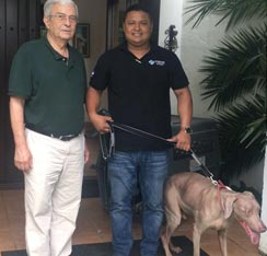 Happy owner with dog relocation